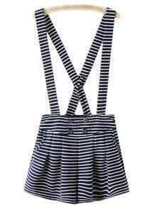 Navy White Stripe Buttons Strap Short