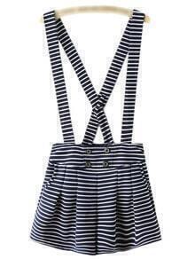 Navy White Stripe Buttons Strap Short