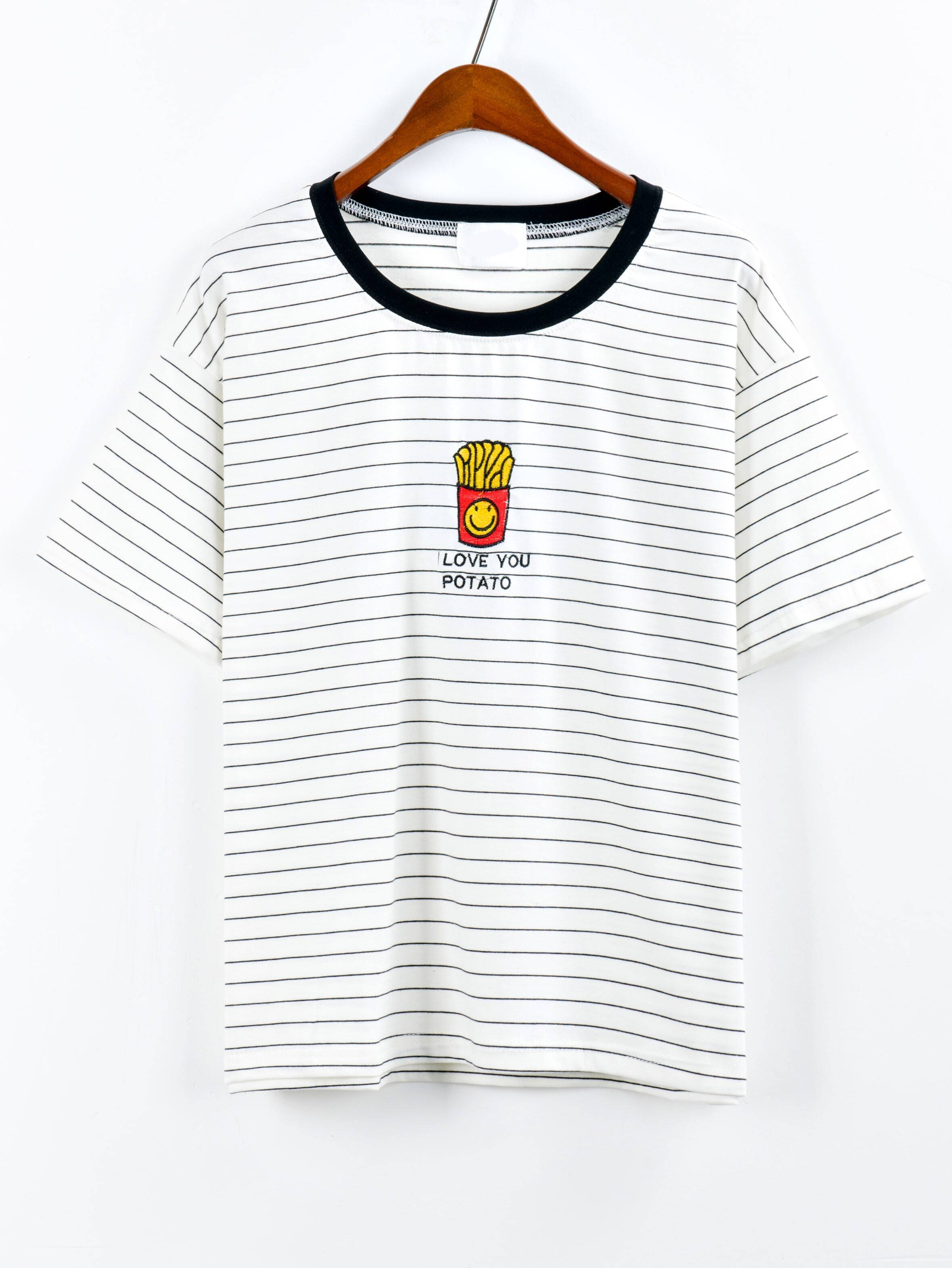 Contrast Neck French Fries Embroidered Striped T Shirt