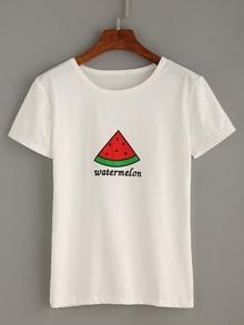 Camiseta estampado de sandía -blanco