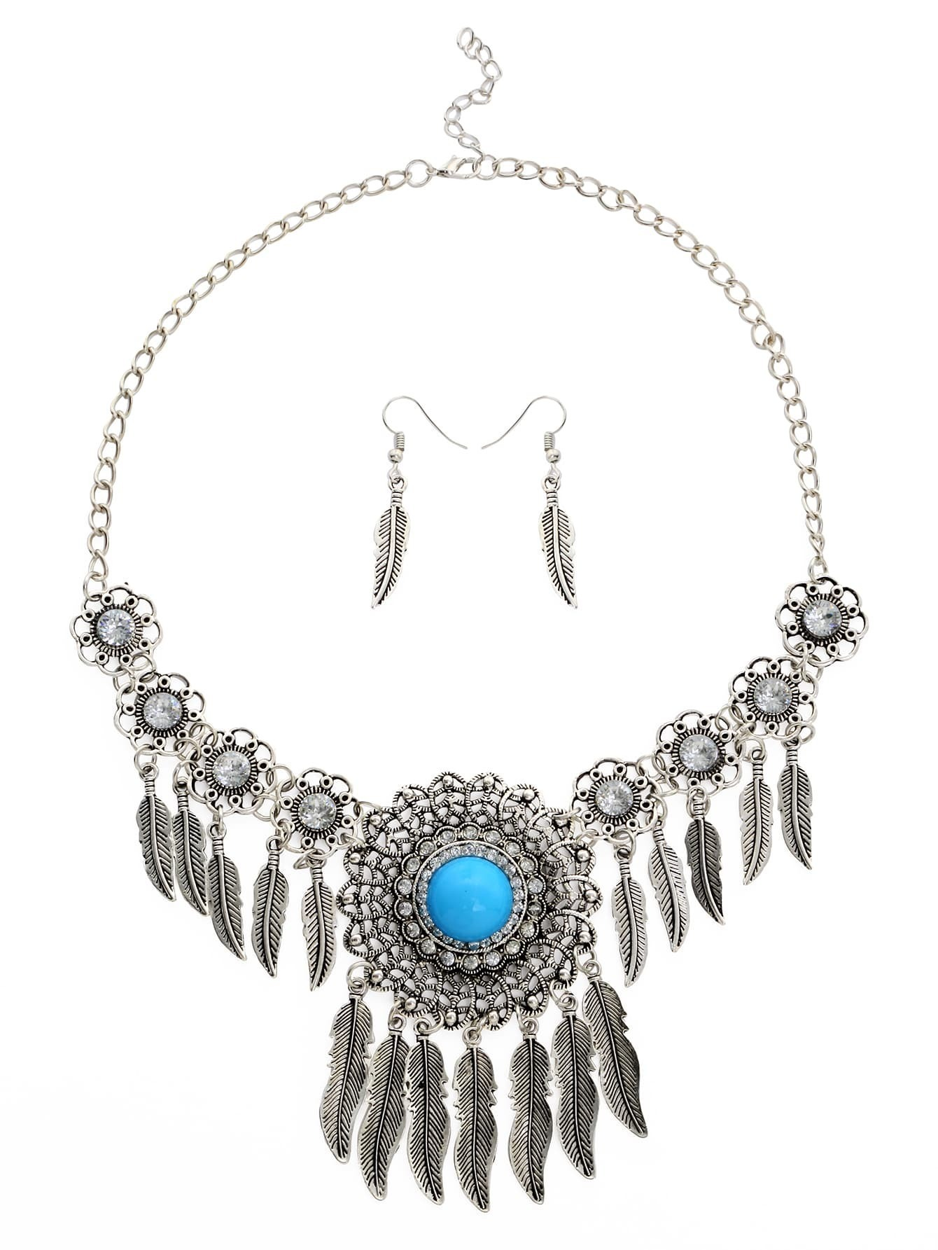 Faux Stone Inlay Feather Pendant Filigree Statement