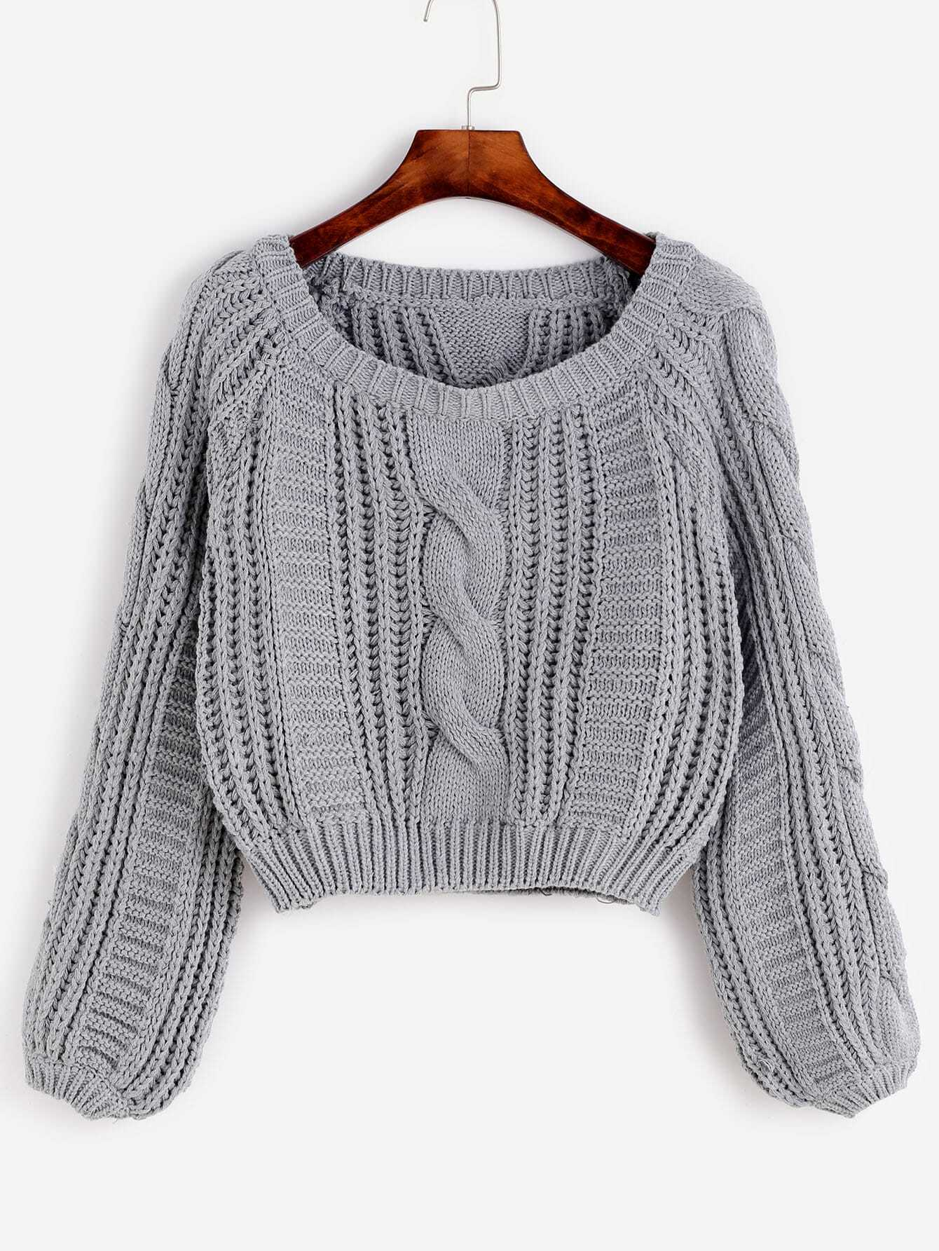 Grey Cable Knit Crop Sweater