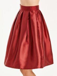 Falda plisada espalda con cremallera - rojo