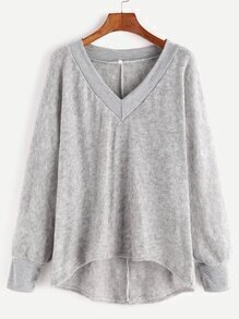 Jersey asimétrico con cuello en V - gris