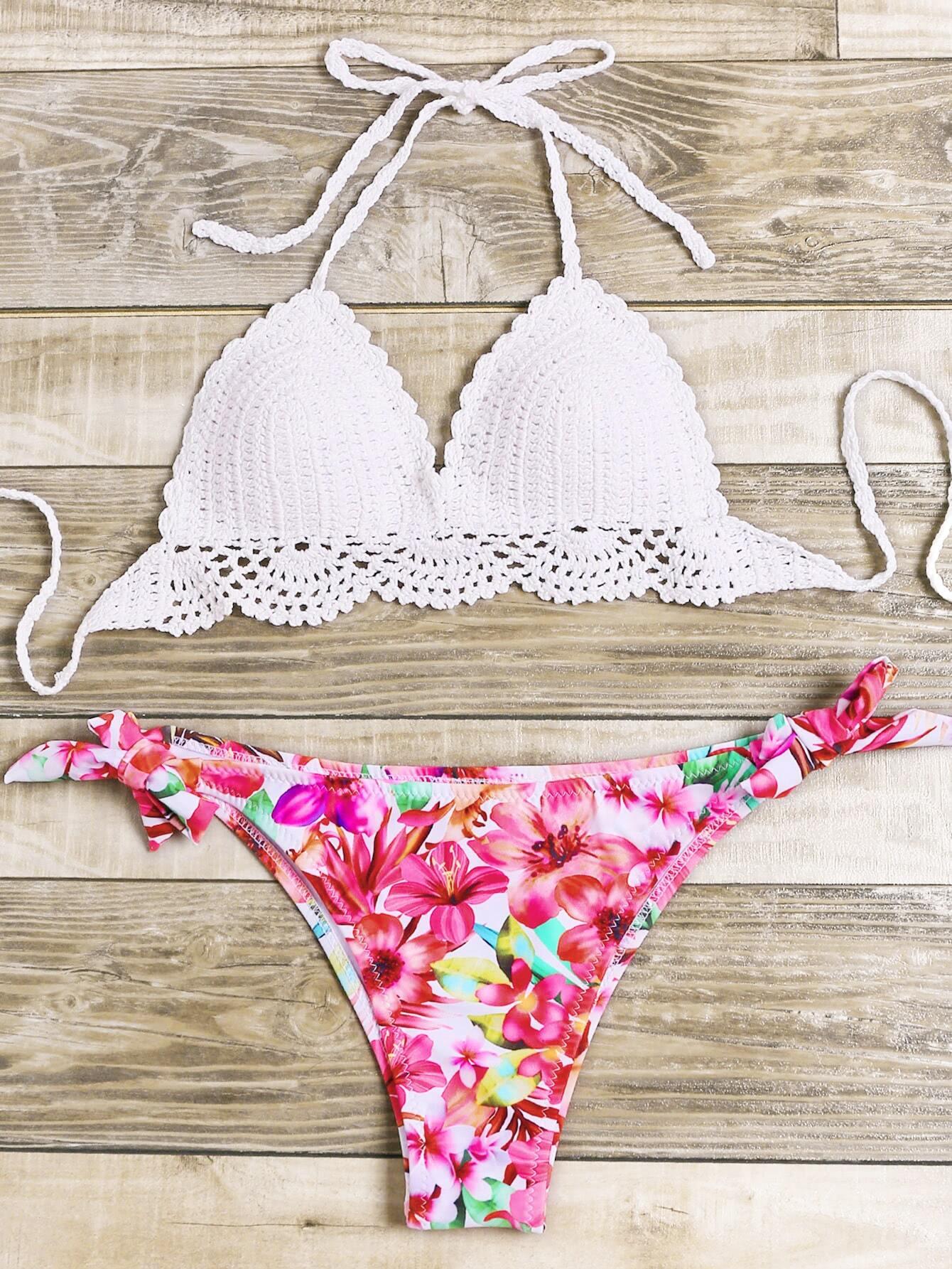 Floral Print Crochet Mix & Match Bikini Set