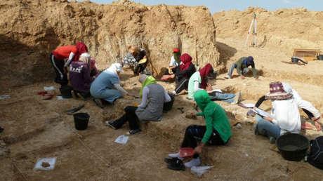 Members of the team digging in Ain Boucherit.