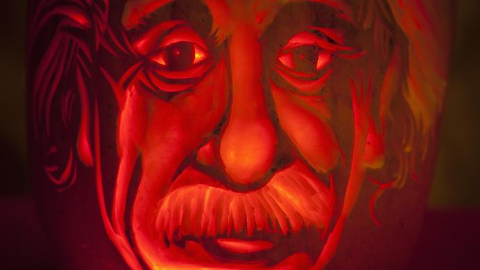 An Albert Einstein pumpkin is pictured at Madame Tussauds in New York (Reuters / Carlo Allegri)