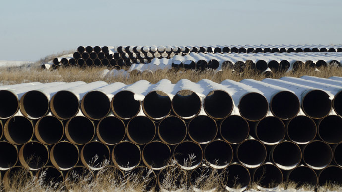 A depot used to store pipes for Transcanada Corp's planned Keystone XL oil pipeline is seen in Gascoyne, North Dakota. (Reuters/Andrew Cullen)