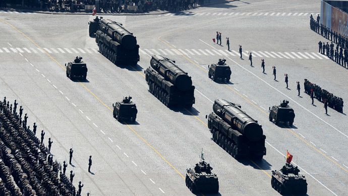 Topol-M intercontinental ballistic missiles during a parade marking the 69th anniversary of the victory in the Great Patriotic War, on Moscow's Red Square. (RIA Novosti/Alexander Vilf)