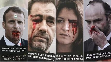 Des affiches choc représentant les membres du gouvernement blessés et mutilés par la police lors de manifestations de Gilets jaunes sont apparues, notamment à Bordeaux.