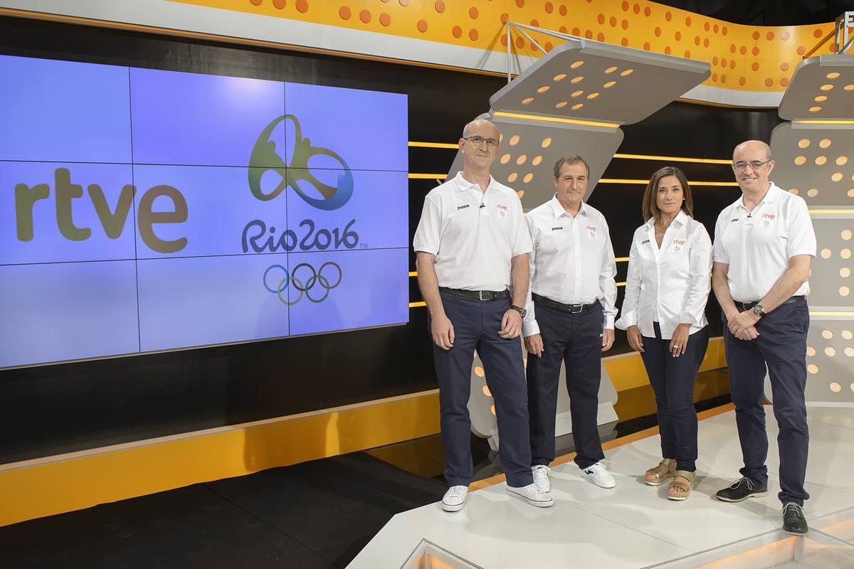 Alejandro Vega, director RTVE Digital; Eladio Jareo, director TVE; Yolanda García, directora Deportes-TVE; José López-Terradas, director Deportes RNE