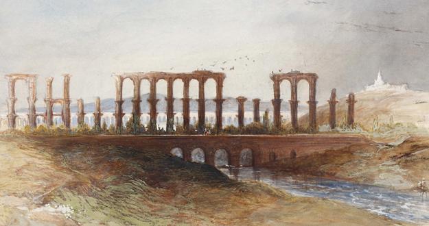 Richard Ford, Acueducto de los Milagros. Mérida (Badajoz). Acuarela sobre papel
