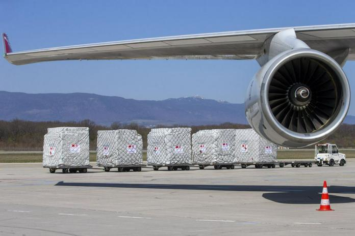 The engine of a Boeing 747 cargo plane. Photo: EPA