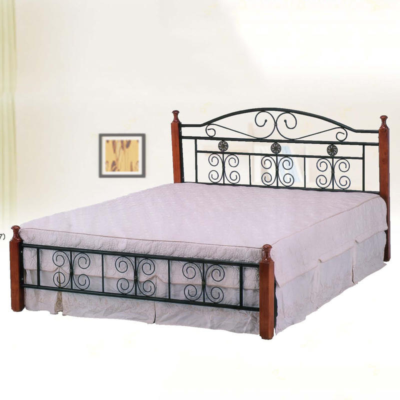 【在地人傢俱】19 簡單購-鋼木5.2尺雙人鐵床/床臺/床架 LC645-2 - 露天拍賣
