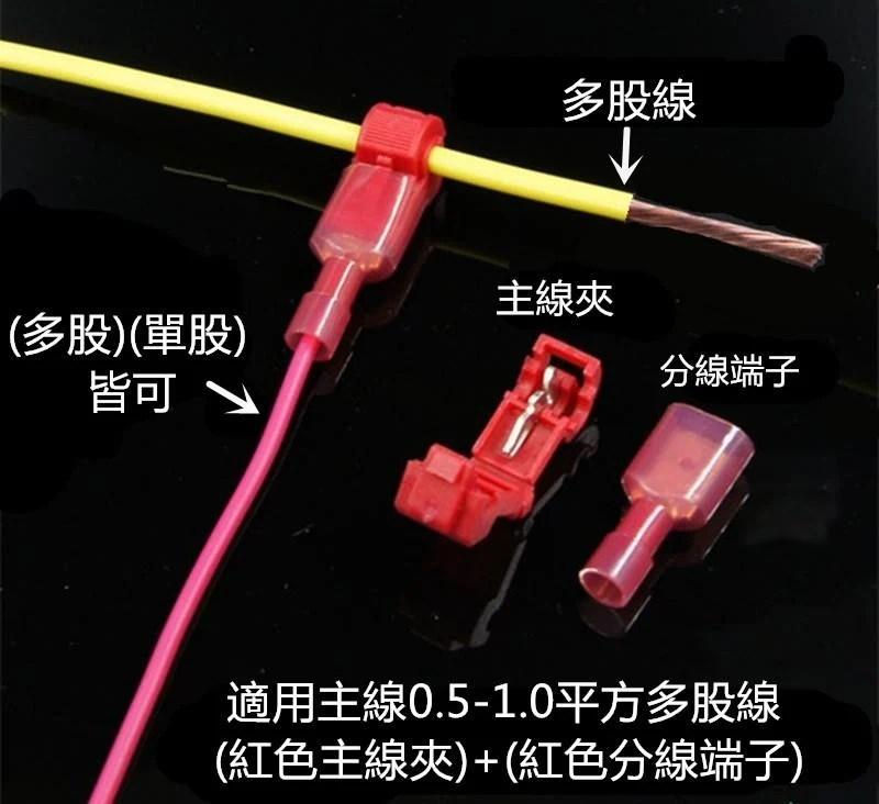 快速免破線T型接線端子 (0.5-1.0平方)電線並聯 (紅色主線器:多股線用)(綠色主線器:單股線用) - 露天拍賣