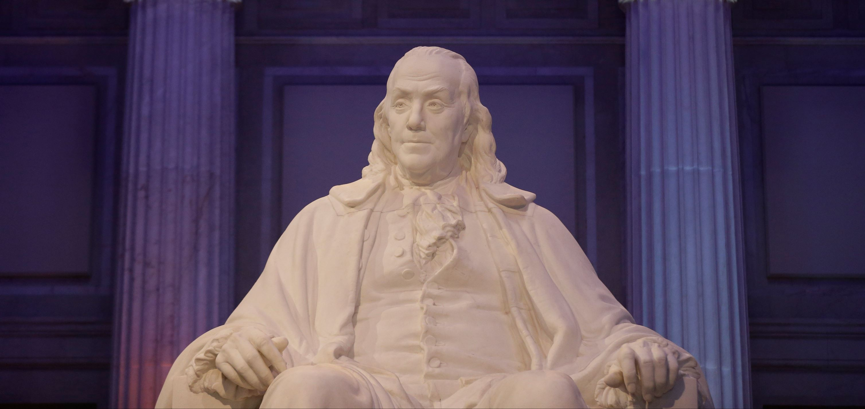 A statue of Benjamin Franklin is seen at The Franklin Institute in Philadelphia.
