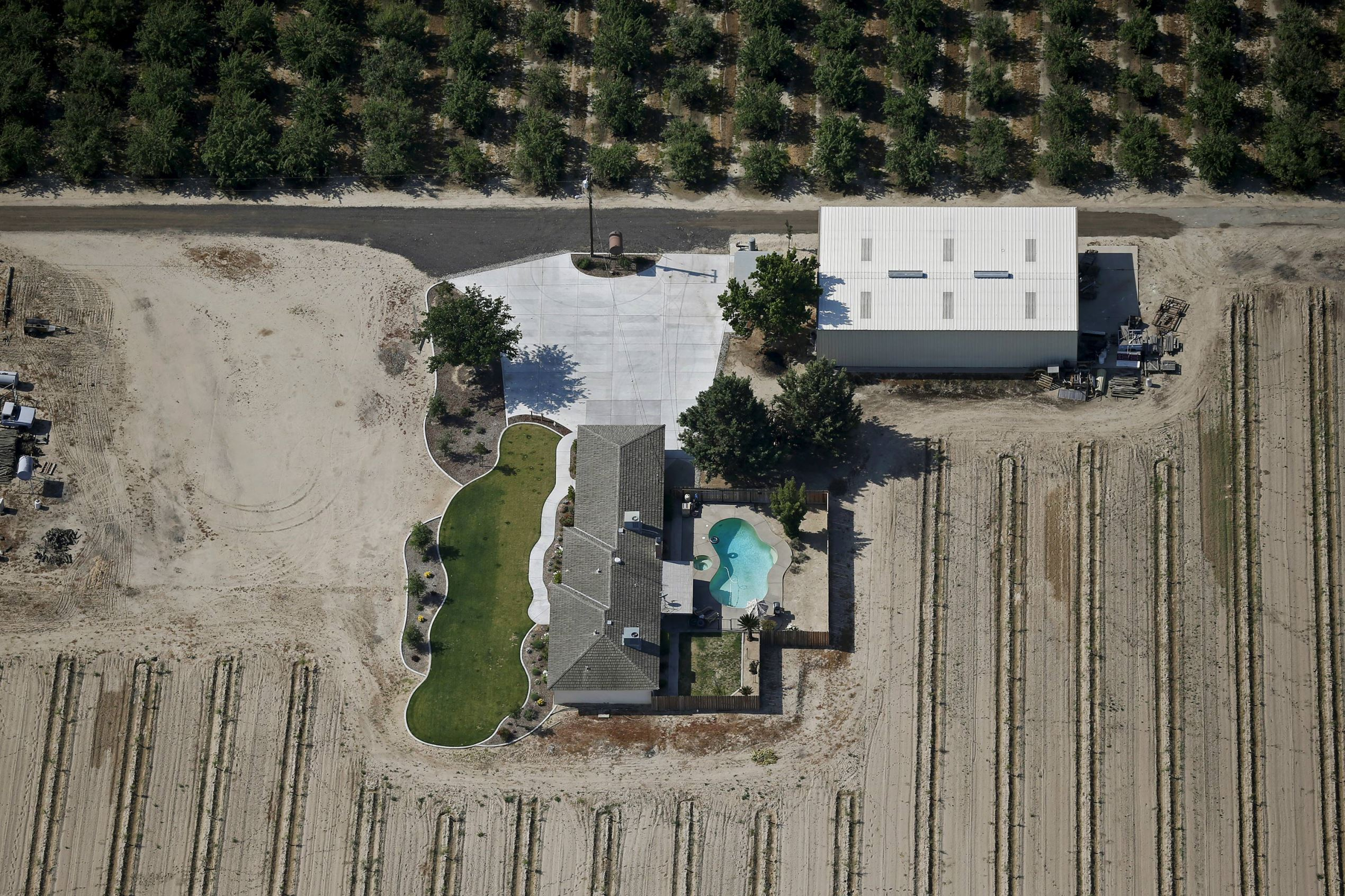 A farm with a lawn and swimming pool near Fresno, California.