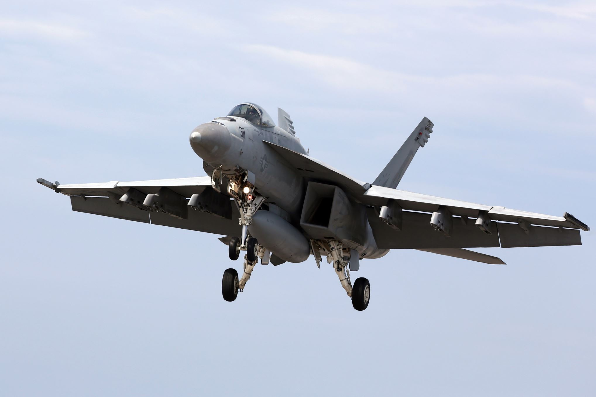 In this May 14, 2014 file photo, a U.S. Navy F/A-18 Super Hornet lands during the Field Carrier Landing Practice of the Carrier Air Wing 5 of U.S. Naval Air Facility Atsugi on May 14, 2014 in Iwojima, Tokyo, Japan.