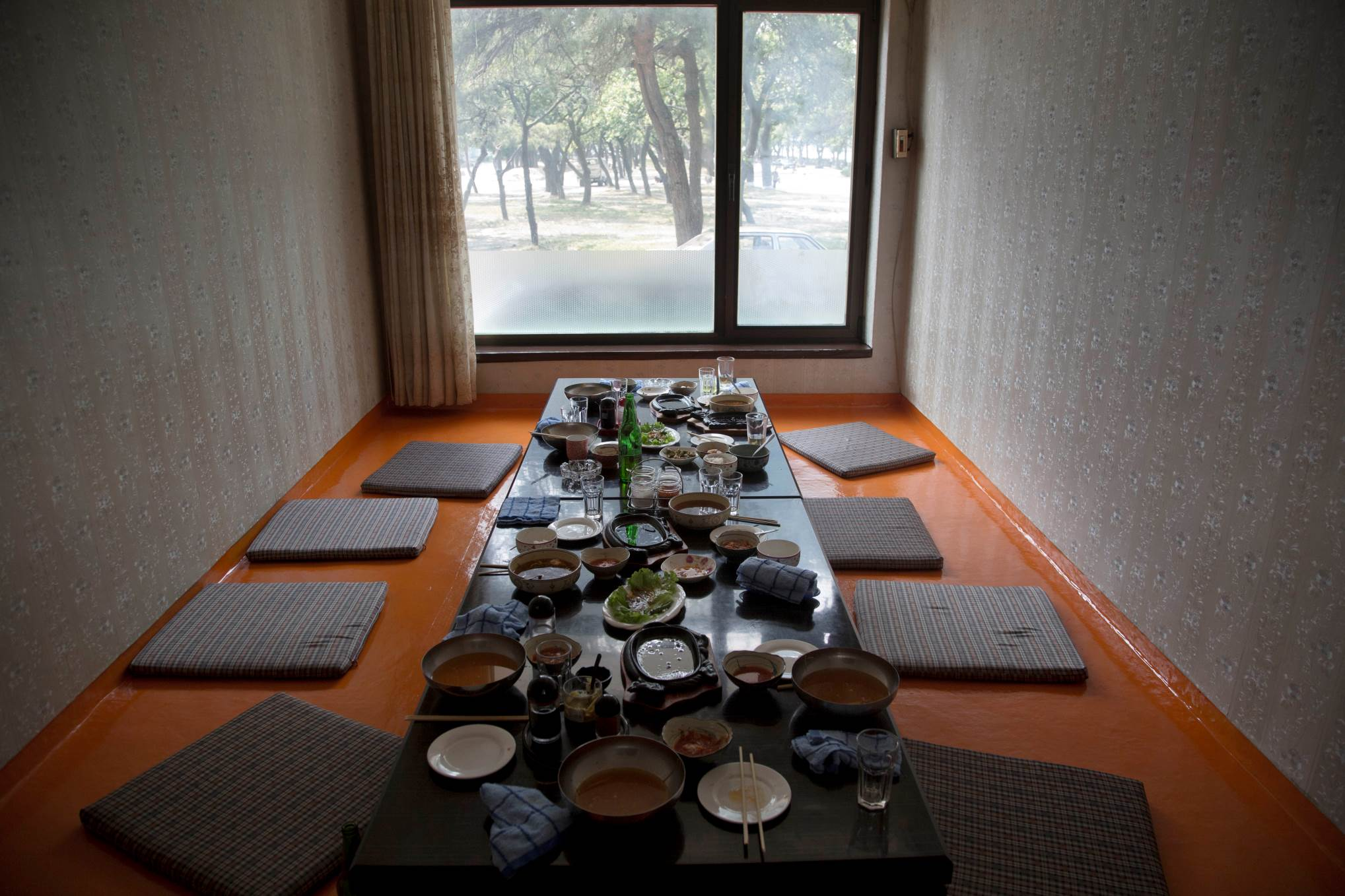 The remains of lunch sits on a restaurant table in the city of Wonsan, North Korea.