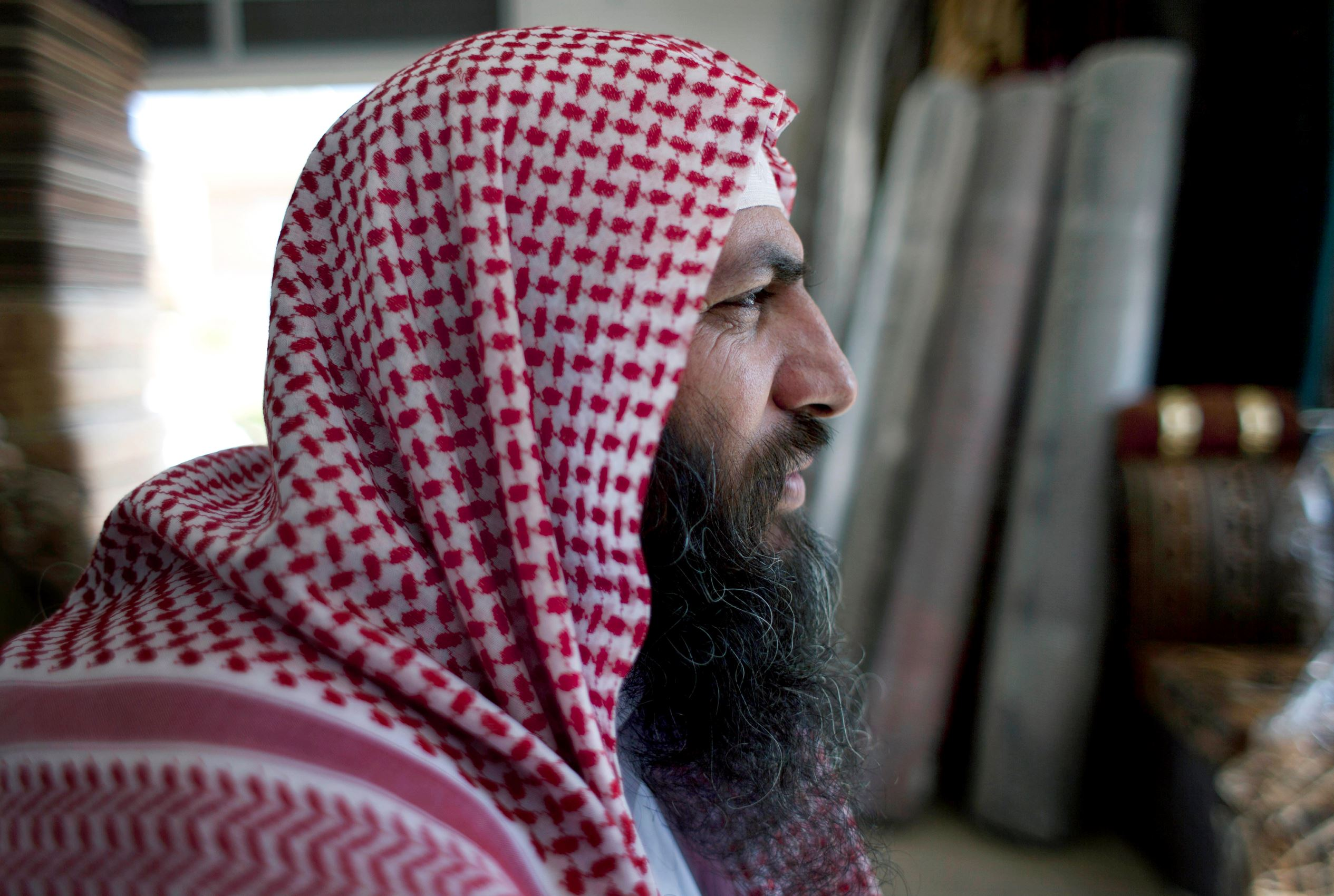 Salafi cleric Mohammed al-Shalabi, 48, widely known as Abu Sayyaf, talks during an interview on Oct. 29, 2014.