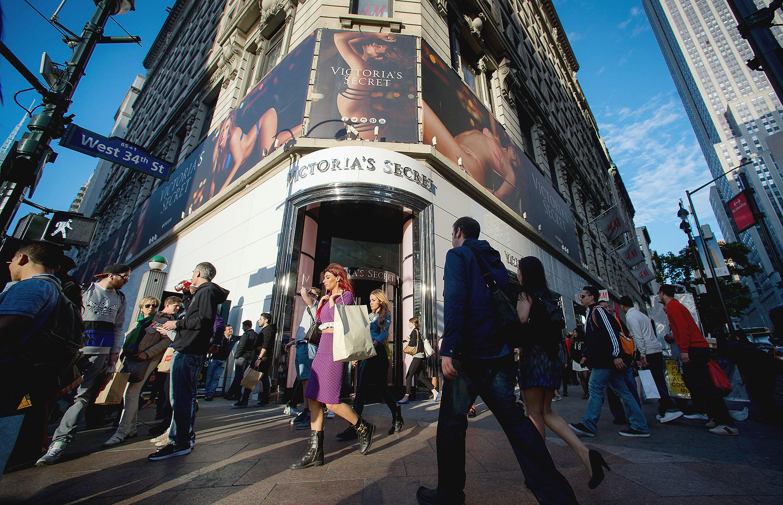 Pedestrians walk past a Victoria's Secret store in New York. Craig Warga/Bloomberg