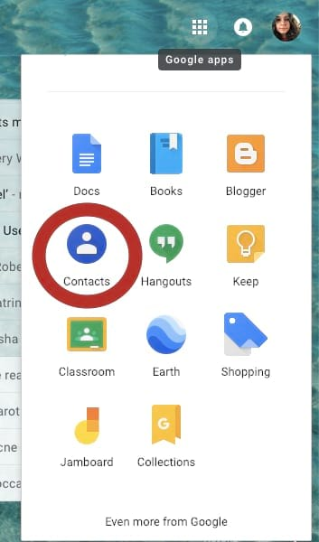 Contacts from google