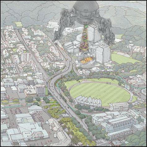 wellington, flyover, sim city, alien, robot, disaster