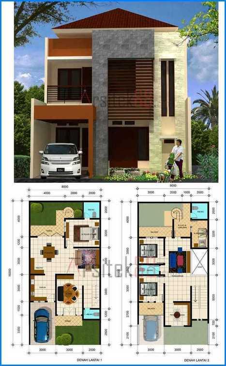 14 Denah Rumah Minimalis 2 Lantai Modern Sederh