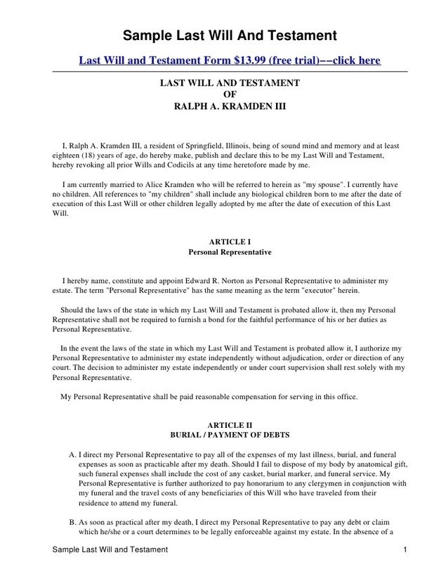 Last Will And Testament Template Form Louisiana