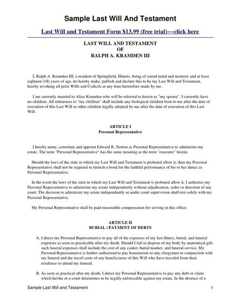 Last Will And Testament Template Form Californi