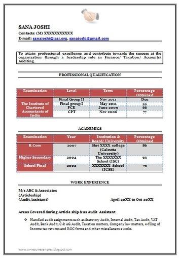 Sample Resume For B Com Graduate Fresher