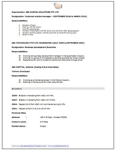 cv samples with perfect for ca
