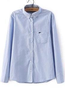 Blusa solapa elefante bolsillo-azul