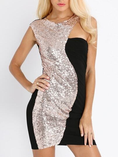Black Gold Sequined Sleeveless Dress pictures