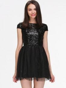 Vestido plisado lentejuelas-negro