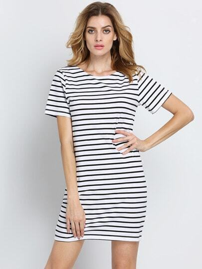 Black White Striped Short Sleeve Straight Dress pictures