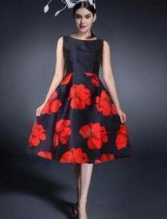 Black Red Round Neck Sleeveless Floral Dress