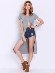 Grey Cap Sleeve Split Front T-shirt