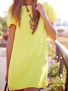 Vestido manga corta casual sin espalda -amarillo