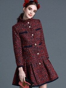 Red Stand Collar Long Sleeve Woolen Coat