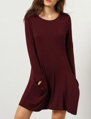 Burgundy Long Sleeve Pockets Dress