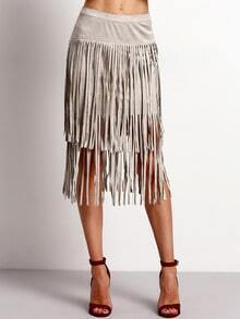 Grey High Waist Tassel Skirt