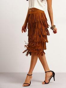 Khaki High Waist Fringe Skirt
