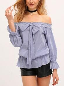 Albastru pe umăr Bow Tie Striped Blouse