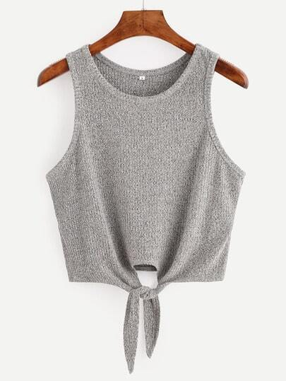 Grey Tie Casual Tank Top -SheIn(Sheinside)