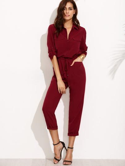 Combi-pantalon col à revers avec ceinture - rouge bordeaux