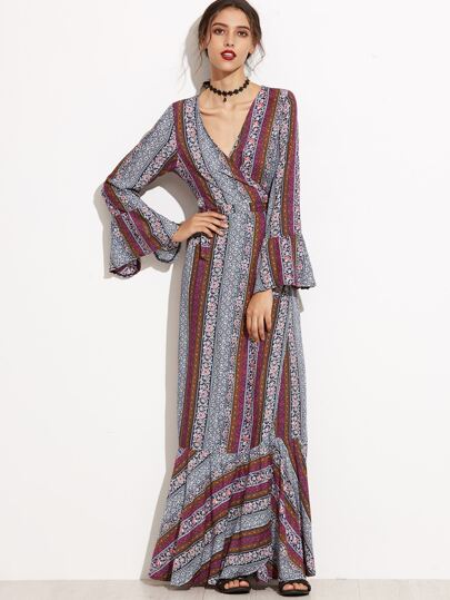 Deep V Neck Bell Sleeve Self Tie Wrap Dress