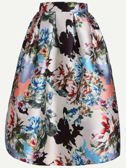 Flower Print A-Line Skirt With Zip
