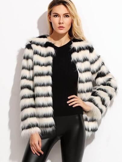 Veste en fausse fourrure à rayure - noir et blanc