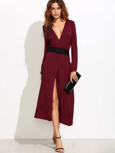 Burgundy Surplice Wrap Dress With Contrast Belt